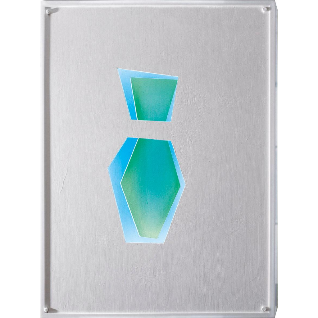 Εικόνα (1) «Βάζο», 1984, Κατασκευή με τρία λευκά παράλληλα κόντρα πλακέ τα οποία χρωματίζονται έμμεσα με φώτα νέον, 90 X 80 εκ. Τ.Ι.Τ. 2015.2921