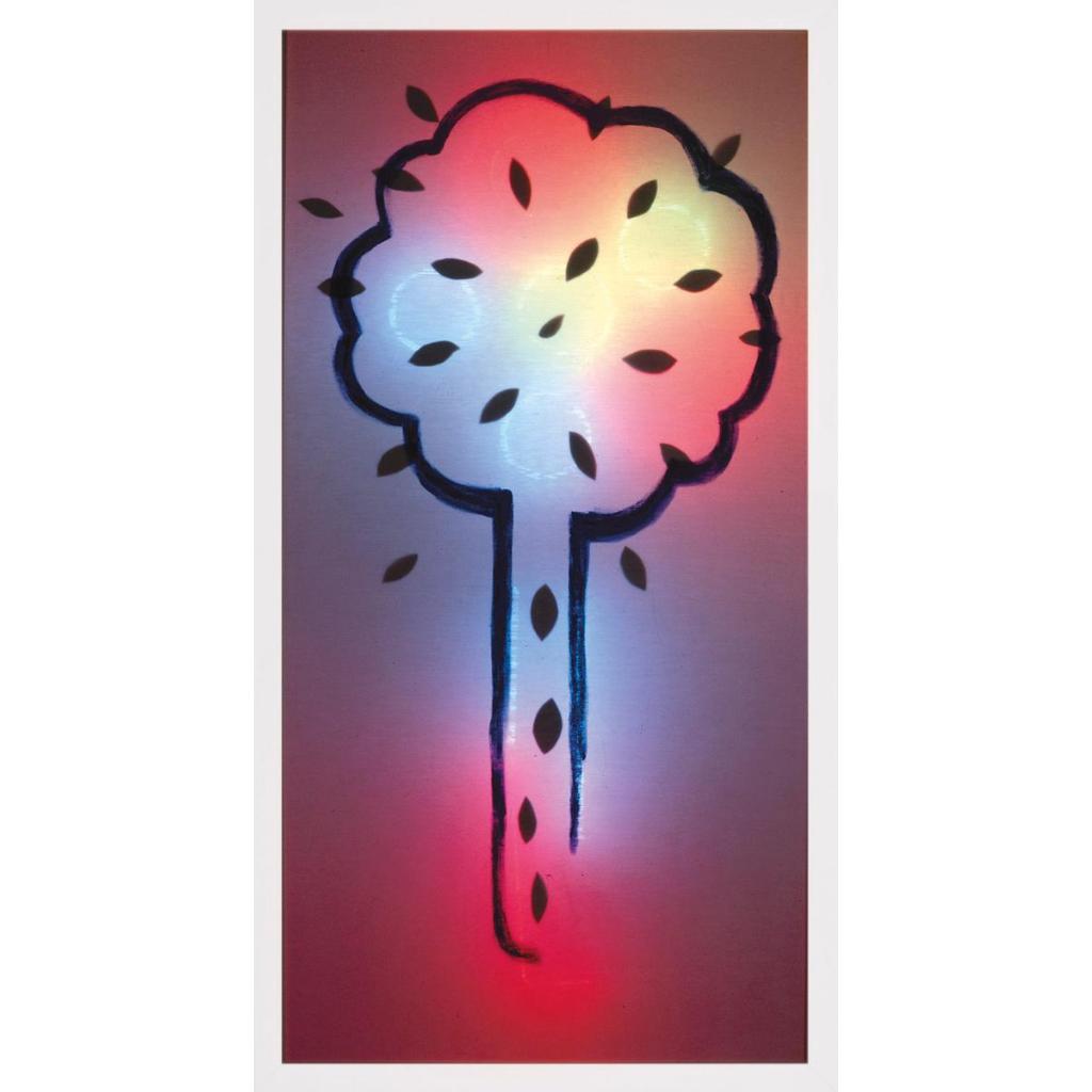 Εικόνα (3) «Δένδρο», Ζωγραφική των Σκιών. Φωτεινό κουτί από πλεξιγκλάς. Λευκή σειρά. Λάδι σε ύφασμα, με χαρτόνια και φώτα νέον πίσω από το ύφασμα. Το δένδρο περιγράφεται με 3 τρόπους: με περίγραμμα στο ύφασμα, με χαρτόνια σε σχήμα φύλλου πίσω από το ύφασμα, με περιγράμματα καρπών με νέον πίσω από το ύφασμα, 194 Χ 102 Χ 11,5 εκ. Τ.Ι.Τ. 2015.3949